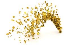 El manojo de dinero, el oro, la muestra de dólar o las monedas fluyen del piso, del fondo moderno del estilo o de la textura libre illustration