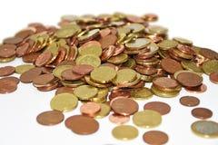 El manojo de euro acuña el dinero Imagen de archivo libre de regalías