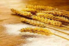 El manojo y la harina del trigo en la madera del vintage suben Imagen de archivo