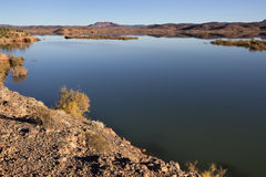 El-Mansour Eddabbi dam with mountains, Ouarzazate. Stock Photography