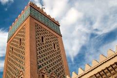 El Mansour Mosque Minaret, Marrakesh, Marocko Arkivbilder