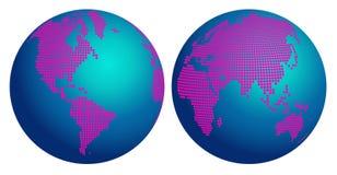 El mapa abstracto del globo del mundo con la flor rosada puntea Ilustración del Vector