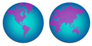 El mapa abstracto del hemisferio del mundo con la flor rosada puntea Ilustración del Vector