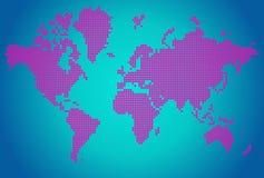 El mapa abstracto del mundo con la flor rosada puntea Stock de ilustración