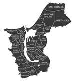 El mapa Alemania DE de la ciudad de Rostock etiquetó el ejemplo negro Fotografía de archivo