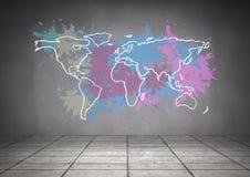 El mapa colorido con la pintura salpicó el fondo de la pared Imágenes de archivo libres de regalías