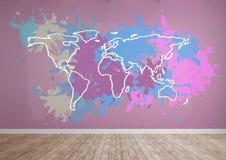 El mapa colorido con la pintura salpicó el fondo de la pared Foto de archivo libre de regalías