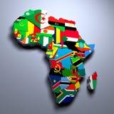 El MAPA de ÁFRICA CON LAS BANDERAS DE LOS PAÍSES 3d rindió imagen libre illustration