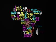 El mapa de África con todos los estados y su ejemplo o de los nombres 3d libre illustration