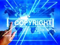 El mapa de Copyright exhibe la propiedad intelectual por todo el mundo patentada stock de ilustración