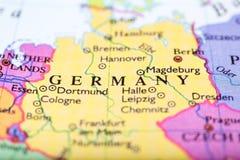 El mapa de Europa se centró en Alemania Imagenes de archivo