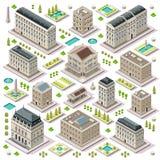 El mapa de la ciudad fijó 05 tejas isométricas ilustración del vector