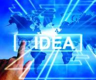 El mapa de la idea exhibe pensamientos o ideas mundiales de los conceptos Imagen de archivo