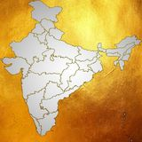 El mapa de la India, Asia con todos los estados y límite del país en pendiente digital creativa resume el modelo en fondo de oro stock de ilustración