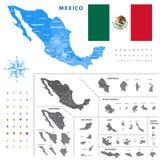El mapa de las regiones de México representa un esquema general del los ciudades de los estados libre illustration
