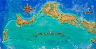El mapa de los turcos de la isla caribeña y Caicos pintaron Fotos de archivo