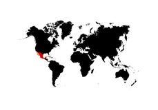 El mapa de México se destaca en el rojo en el mapa del mundo - vector stock de ilustración