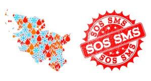 El mapa de mosaico del estado de Schleswig-Holstein del fuego y los copos de nieve y SOS SMS rasguñó el sello stock de ilustración