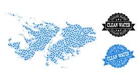 El mapa de mosaico de Falkland Islands con agua rocía y el sello del sello del Grunge libre illustration