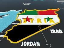 El mapa de Siria dividió con las banderas del gobierno y del rebelde con los países circundantes - 3D rinden Fotos de archivo