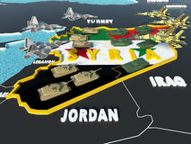 El mapa de Siria dividió con las banderas del gobierno y del rebelde con los países circundantes - 3D rinden Foto de archivo libre de regalías