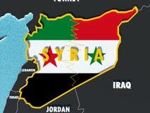 El mapa de Siria dividió con las banderas del gobierno y del rebelde con los países circundantes - 3D rinden Imagen de archivo