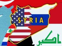 El mapa de Siria dividió con los E.E.U.U. y las banderas de Rusia con los países circundantes - 3D rinden Imágenes de archivo libres de regalías