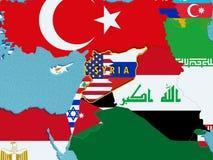 El mapa de Siria dividió con los E.E.U.U. y las banderas de Rusia con los países circundantes - 3D rinden Imagen de archivo