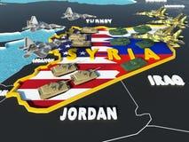El mapa de Siria dividió con los E.E.U.U. y las banderas de Rusia con los países circundantes - 3D rinden Foto de archivo libre de regalías
