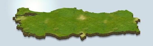 El mapa de Turquía es verde en un fondo azul 3d ilustración del vector