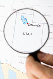 El mapa de Utah con Salt Lake City Imagen de archivo