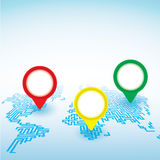 El mapa del mundo con el indicador marca el fondo Imagen de archivo