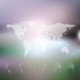El mapa del mundo con los globos punteados, resume empañado ilustración del vector