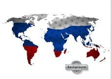 El mapa del mundo con todos los estados y sus banderas ilustración del vector