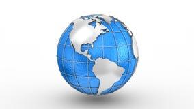 El mapa del mundo da vuelta en un globo