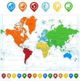 El mapa del mundo detallado con los continentes coloridos y el mapa señalan stock de ilustración
