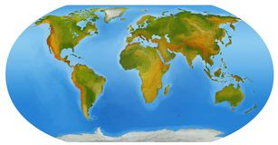 El mapa del mundo - ejemplo para los niños Fotografía de archivo libre de regalías