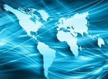 El mapa del mundo en un fondo tecnológico, brillando intensamente alinea los símbolos de Internet, de la radio, de la televisión, Imágenes de archivo libres de regalías