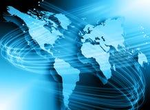 El mapa del mundo en un fondo tecnológico, brillando intensamente alinea los símbolos de Internet, de la radio, de la televisión, Imagen de archivo libre de regalías
