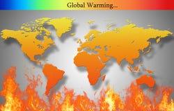 El mapa del mundo está quemando Fotos de archivo libres de regalías