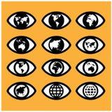 El mapa del mundo firma adentro el ojo, muestra del ojo, concepto de la visión. Imagen de archivo libre de regalías