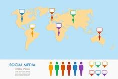 El mapa del mundo, las figuras de los hombres y el geo colocan infographics de los indicadores. Foto de archivo libre de regalías