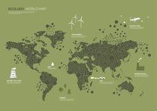 El mapa del mundo puntea la ecología Imagenes de archivo