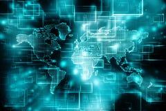 El mapa del mundo y el blockchain miran para mirar red, concepto de la red global libre illustration