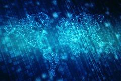 El mapa del mundo y el blockchain miran para mirar red, concepto de la red global ilustración del vector
