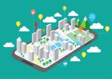 El mapa en los teléfonos móviles, tecnología de la navegación GPS, vector del viaje trabaja fotos de archivo