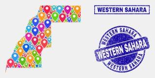 El mapa fija el collage de los sellos occidentales de Sahara Map y del Grunge ilustración del vector