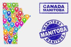 El mapa fija el mosaico del mapa de la provincia de Manitoba y de sellos texturizados ilustración del vector