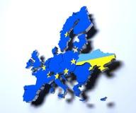 El mapa político 3d de la unión europea rindió imagen en pendiente ilustración del vector