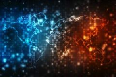el mapa y el blockchain del runWorld de la persona del negocio 3d miran para mirar la red, Netning global en ruedas de engranaje  ilustración del vector